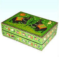 PAINTED WOODEN DECORATIVE JEWELERY BOXES