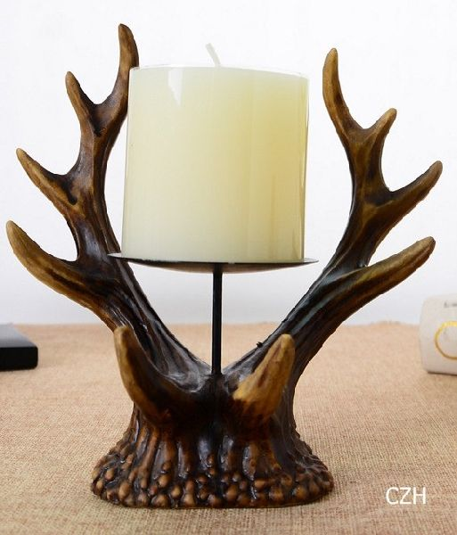 Antique Antlers Sculpture Candle Stand