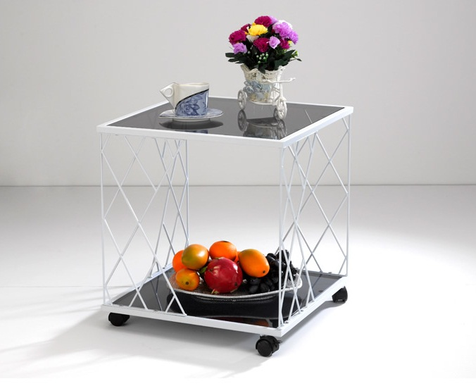Decorative Storage Side Table With Glass