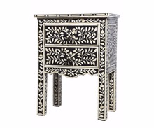 Bed side bone inlay small cabinet