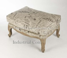 French style cushioned ottoman