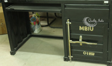 Metallic Industrial Dark Color Container Style Study Table