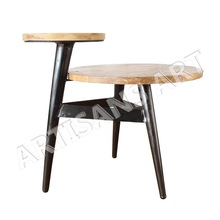 Industrial Poly Side table with Black Rustic iron and Wood