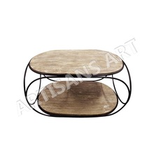 Rustic Sand Blast Wood Iron Coffee Table