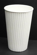 Disposable White Ripple Wrap Hot Cups