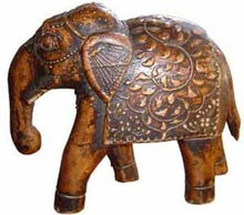 WOODEN CRAVED HAND PAINTED ELEPHANT SCULPTURE