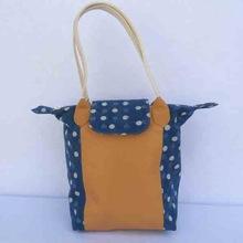 cotton canvas two color handle purses