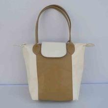 cream color leather purse