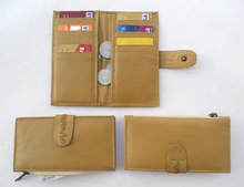 Khaki leather multiple pockets clutches