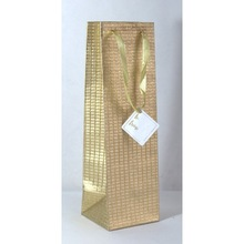 Metallic golden base embossed Wine Bags