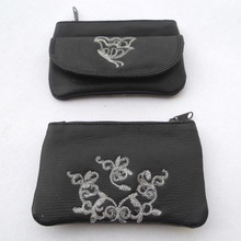 silver color embroidery clutches