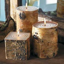 Taper and Block Chips Floral Handmade Candles