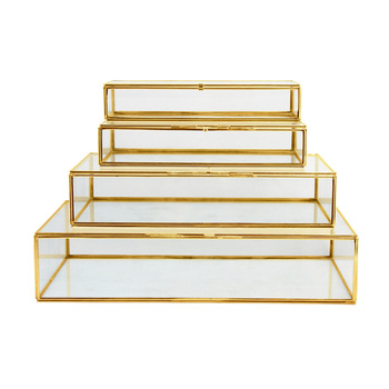 Brass Plated gold Glass Box
