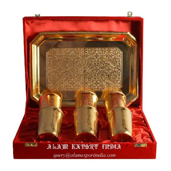 glass and tray set brass