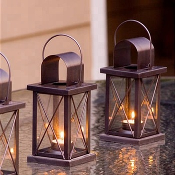 Hot Metal Brown Lantern with Clear Glass