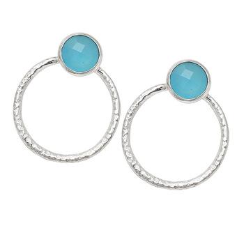 Aqua Chalcedony Gemstone Stud Earrings