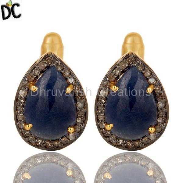 7e2b1c411 Blue Sapphire Gemstone Pave Diamond Cufflink Manufacturer in Jaipur ...
