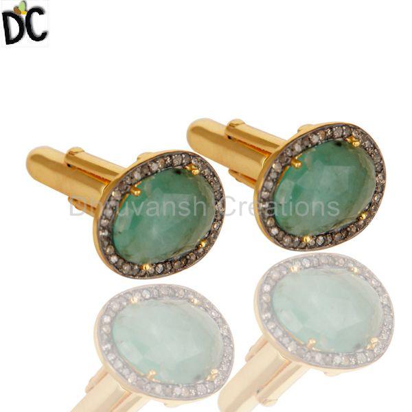 31f814018 Emerald Gemstone Mens Cufflink Manufacturer in Jaipur Rajasthan ...
