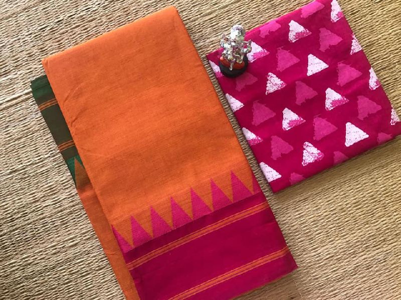 80 count Chettinad fancy cotton sarees with running blouse