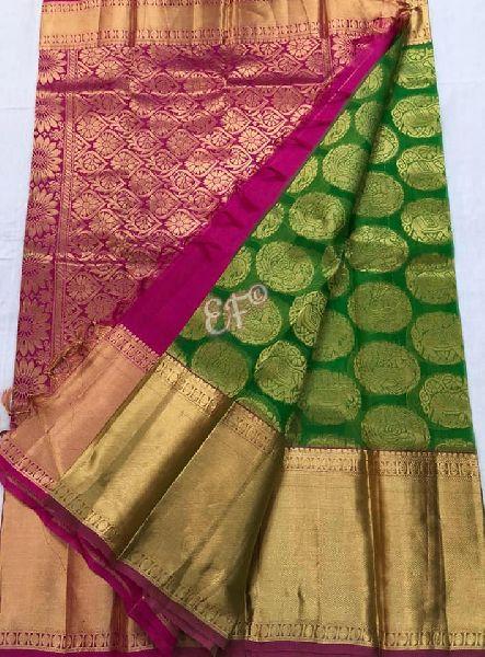 Big Bordered Kanchi Kora Sarees With All over Brocade Buta Design