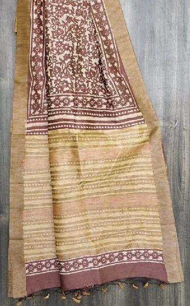 Chanderi gicha border saree with blouse