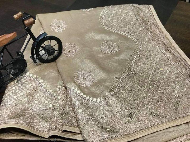 elegant Raw gicha silk Saree with thread embroidery borde