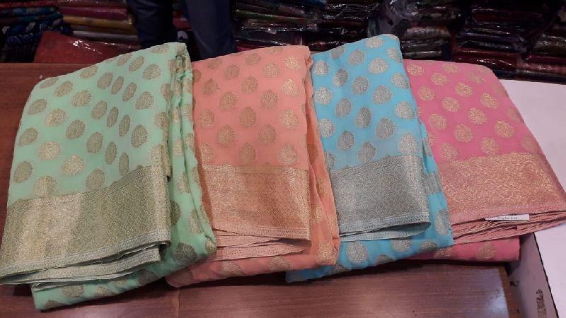Georgette khaddi zari weaving border sarees