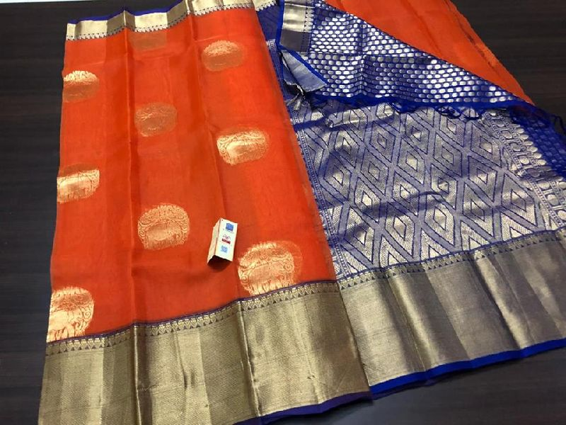 HANDLOOM PURE KORA SILK SAREES WITH RICH PALLU N CONTRAST BROCADE BLOUSE