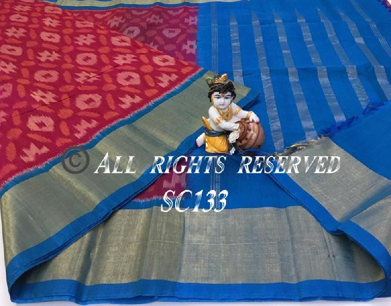 Handloom silk cotton saree with ikkat weaves all over