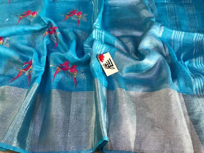 Linen sarees with silver zari 8 inches border