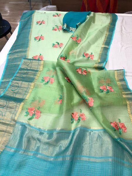 kanchipuram border embroidered sarees