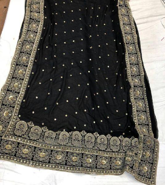 Pure Georgette sarees with hand zardosi work border