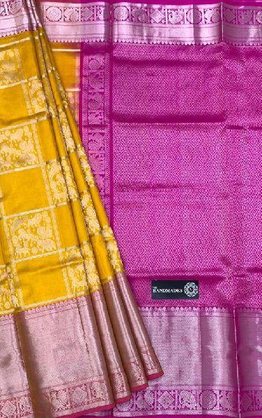Pure Handloom Designer Kanchi Silk Sarees