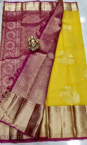 Pure kanchi kora sarees with kanchi border and heavy pallu and brocade blouse