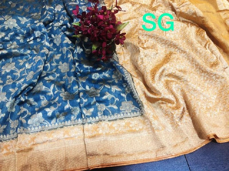 pure linen banarasi silk saree having contrast border rich pallu
