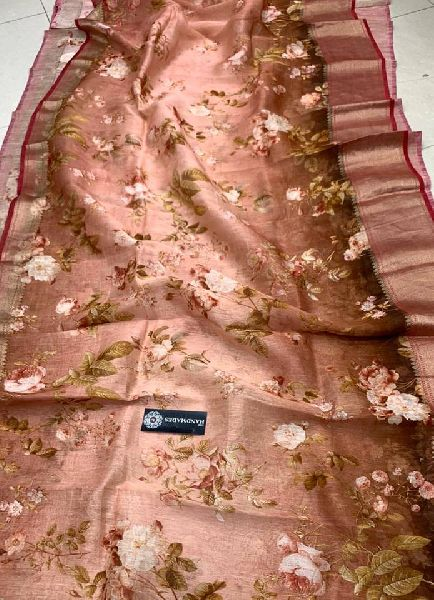 Pure linen Floral Digital Printed Sarees with Weaving Borders