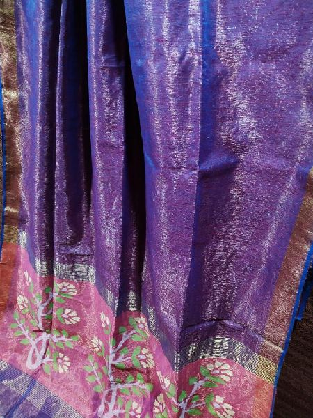Pure Matka tissue jamdani sarees with Contrast blouse