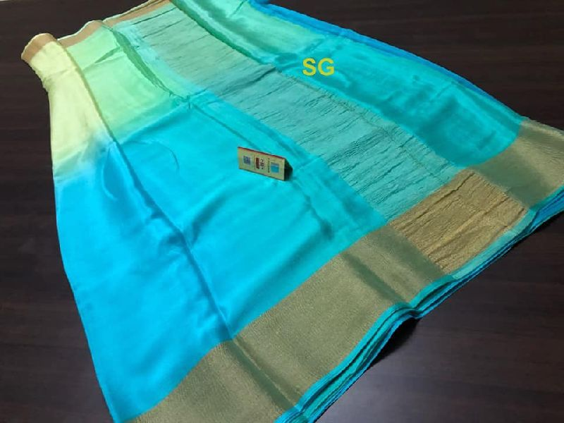 PURE MYSORE SILK WRINKLED CREPE SILK SAREES WITH CONTRAST BLOUSE