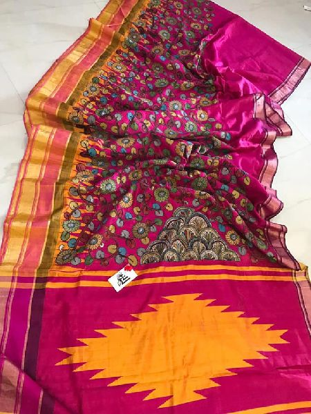 Pure Raw silk dupion sarees with pen kalamkari appliqu work