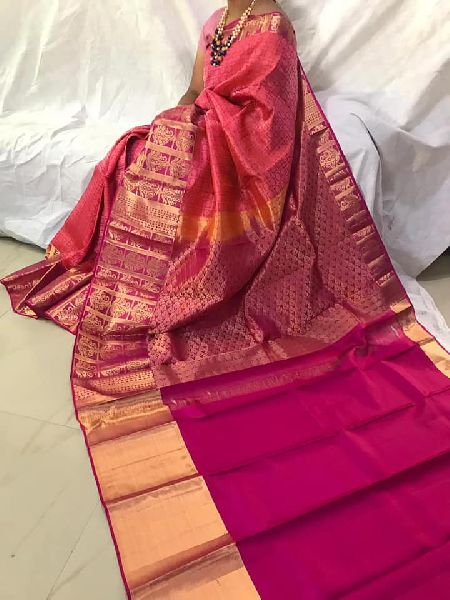 big designer border Pure silk brocade weaving all over saree
