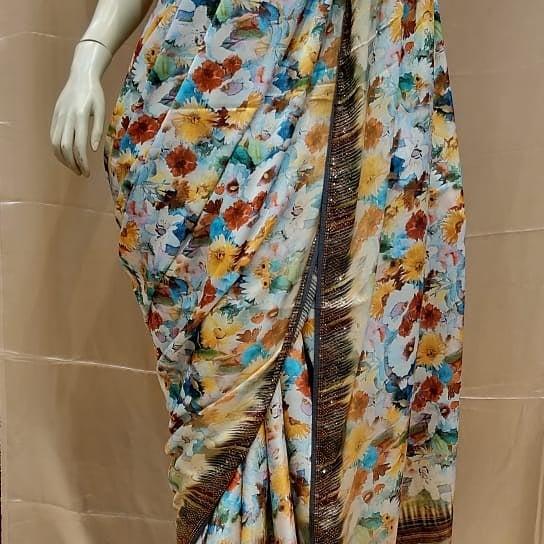 Samuss satin digital print sarees with Swarovski border and heavy Swarovski blouse
