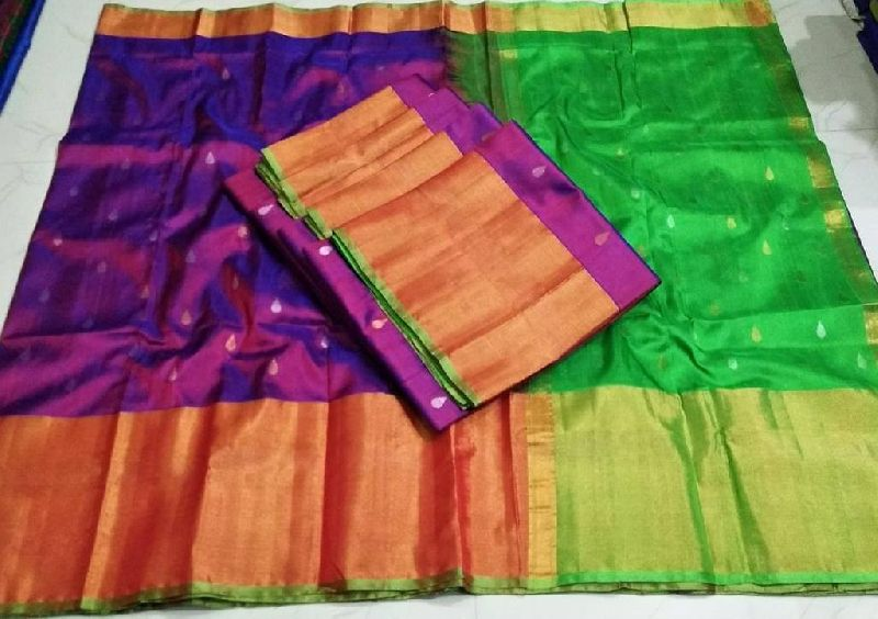 Pure Silk Sarees with Contrast blouse