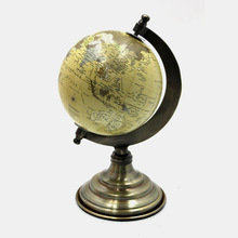 Antique Brass Plated World Globe with aluminium