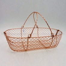 Copper Plated Oval Iron Basket
