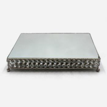 Decorative Crystal Rectangle Mirror Tray