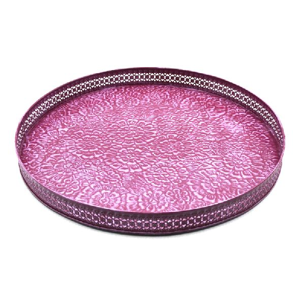 Embossed Decorative Round Serving Trays