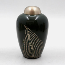 Green Coated Brass Metal Adult Cremation Urns