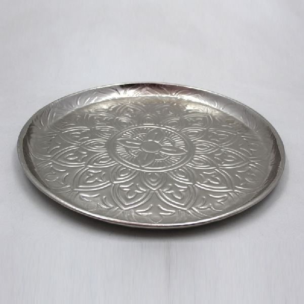 Nickel Plated Iron Round Food Serving Plate