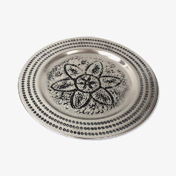 Pewter Antique Plating Iron Serving Round Plates