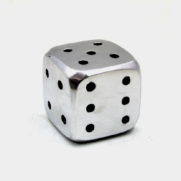 Polished Aluminium Dice Paper Weight